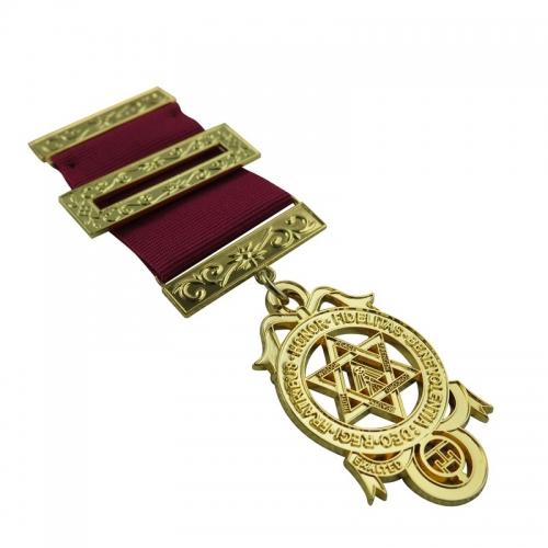 Personalized Gold Plated Military Hexagonal Star Award Medal